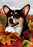"Welsh Corgi Pembroke Tri Color Dog – Tamara Burnett Fall Leaves Garden Dog Breed Flag 12"" x 17"""