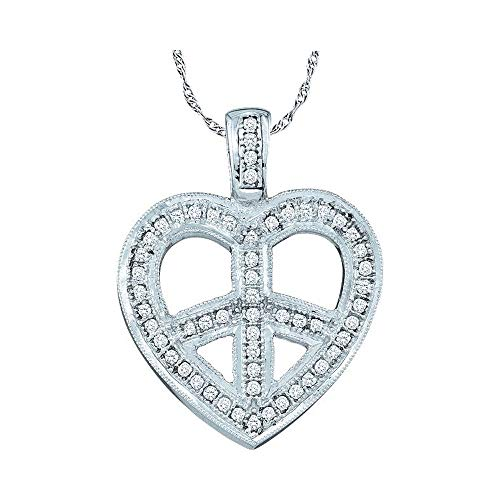 The Diamond Deal 10kt White Gold Womens Round Diamond Heart Peace Sign Pendant 1/6 Cttw