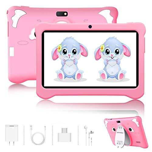 🥇 Tablet para Niños Android 9.0 Pie 7 Pulgadas HD Pantalla 3+32GB/128GB de Expansión Tableta Infantil WiFi Bluetooth Dual Camera 5+2MP Entertainment Education