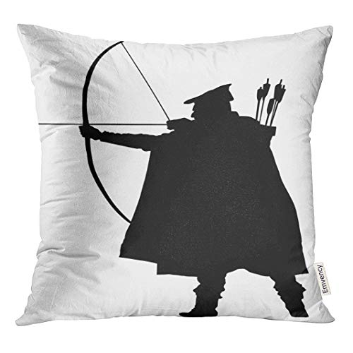 Semtomn Throw Pillow Cove Archer Silhouette Robin Hood Traditional Hunter in Hunting Medieval Decor Square 18x18 Inches