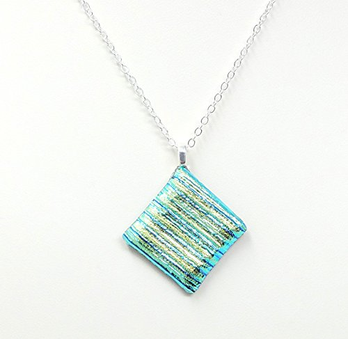 Whimsy Stripes - Fused Stained Glass Necklace - Dichroic Green Stripes