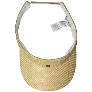 Tommy Hilfiger Women's Flag Visor Straw Trilby Hat, Beige, One (Size:)