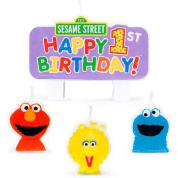 Sesame Street 1st Birthday Cake Candle Set (4ct)