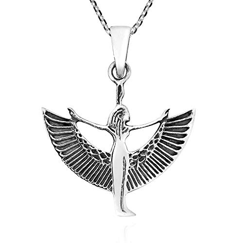 AeraVida Egyptian Goddess Isis .925 Sterling Silver Pendant Necklace