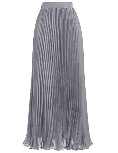 Kate Kasin Elegant Empire Waist Pleated Skirt Full Length Size M KK614-3