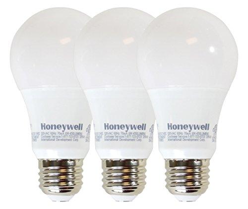 Honeywell A194027HB321 LED Light Bulbs - Dimmable 40 Watt Equivalent Bulb - Energy Star Rated - E26 Medium Base - 450 Lumens Warm White - 3 x Bulbs Value Pak