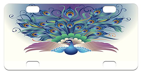 Peacock Mini License Plate by Lunarable, Ornate Peacock with Majestic Tail Feather Dangling Around Birds Wing Illustration, High Gloss Aluminum Novelty Plate, 2.94 L x 5.88 W Inches, Multicolor (Majestic Birds Plate)