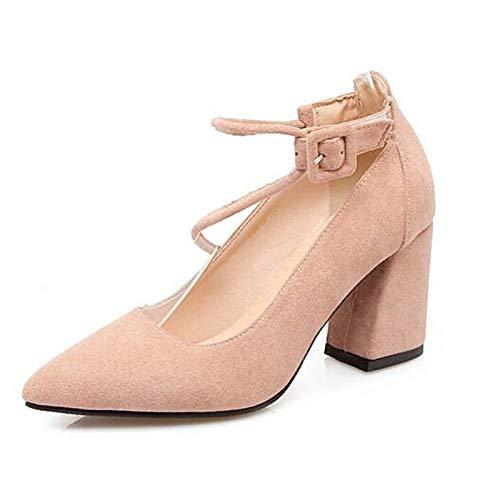 Microfibra Zapatos Black ZHZNVX Comfort de de Heels Mujer Rosa Chunky Heel Spring Negro Blanco wICFaqx