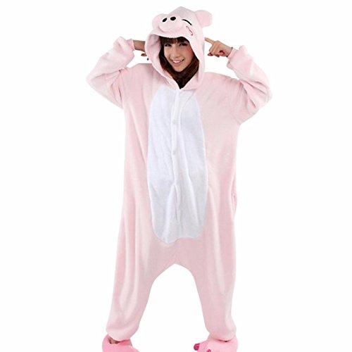Unisex Animales De Dibujos Animados Para Adultos Kigurumi Calido Pijamas Suaves Ropa De Dormir Cosplay Cerdo Rosado