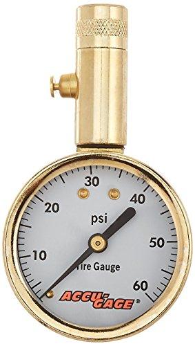 Accu-gage Tire Pressure Guage - 60 PSI Range Straight Angle