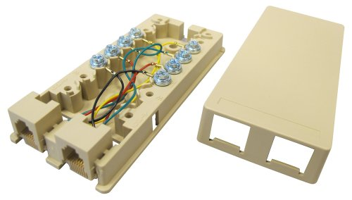 Allen Tel Products AT444 6 Position, 4 Conductor Modular Duplex Surface Jack, Ivory