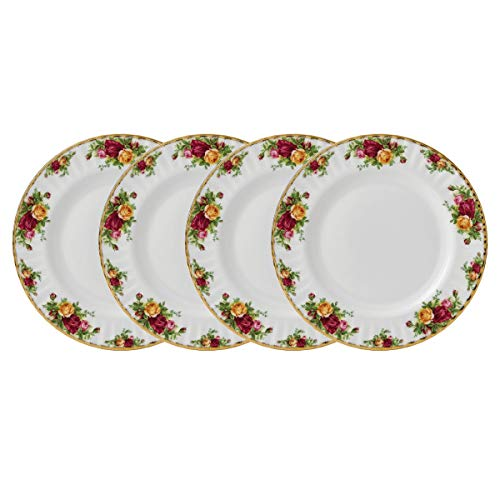 Old Country Roses by Royal Albert Set of 4 Fine China Dinner Plates (Royal Albert Flatware Set)