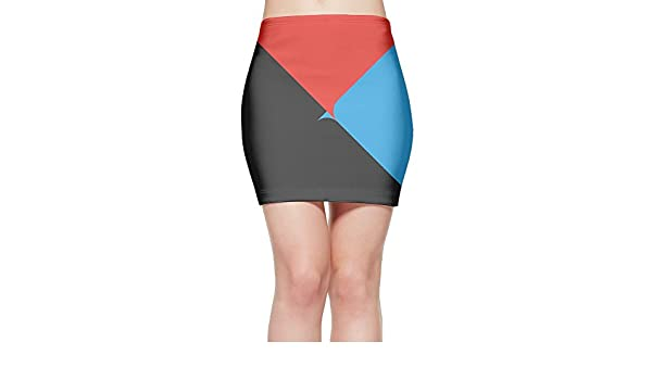 LULULUON Womens Tumblr Black Red Blue Triangle Splicing Sexy Tight Mini Skirt at Amazon Womens Clothing store: