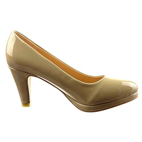 Sopily - Scarpe da Moda scarpe decollete alla caviglia donna verniciato Tacco a blocco tacco alto 8 CM - Taupe