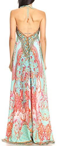 Longue turq Halter bas Marina Ortu230 Sakkas Party Haut Beach Mouchoir Robe Womens Maxi wqH7A06