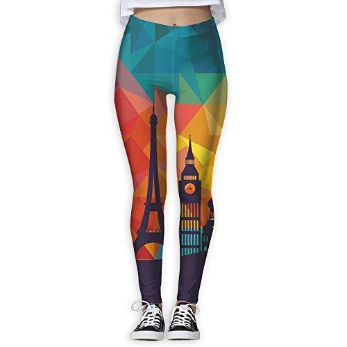 PWiggy Womens Yoga Leggings Eiffel Tower Paris Compression Gym Tights Pants Running Leggings
