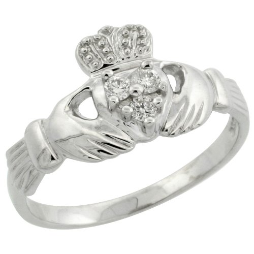 14k White Gold Claddagh Ring w/ 0.10 Carat Brilliant Cut Diamonds, 3/8 in. (10mm) wide, size 9