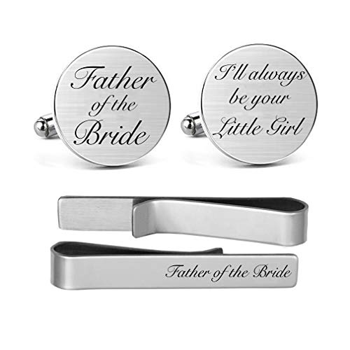MUEEU Father of The Bride Cufflink Engraved I Will Always Be Your Little Girl Stainless Steel Cuff Links Gift for Dad Father(Round Father of The Bride Cufflinks & Tie Clip) (Stainless Cufflinks Steel Anniversary)
