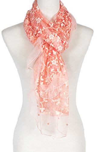 Chiffon Floral Embroidery Lace with Faux-Pearl. Suitable for formal events, Wedding (Coral)