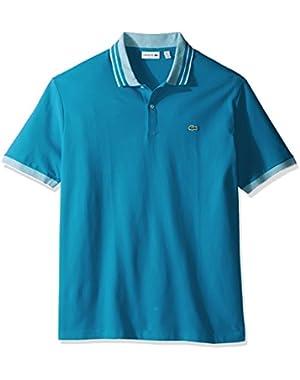 Men's Short Sleeve Semi Fancy Stretch with Fine Stripe Slim Polo