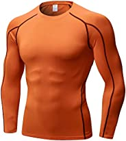 LEICHR Mens Compression Shirts Long Sleeve, Workout T-Shirt Baselayer Cool Sports Tops