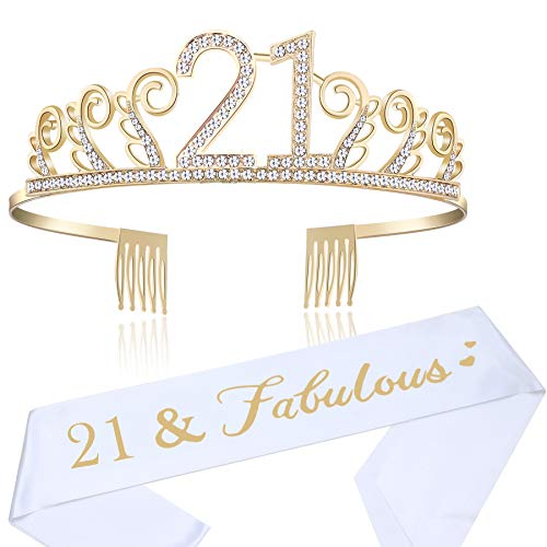 BABEYOND 21st Birthday Tiara and Sash Crystal Happy Birthday Crown and Satin Finally twenty-one Sash 21st Birthday Party Supplies Rhinestone 21st Princess Crown and Glitter Sash (Set-1) -