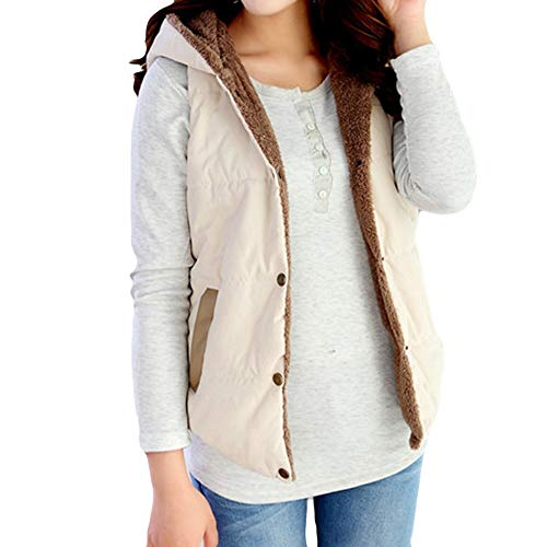 Beige Stripes Snap (Connia Hot Womens Girls Thick Hooded Cotton Vest Outwear Winter Soft Warm Coat Snap Button Pocket Padded Slim Jacket (XXXL, Beige))