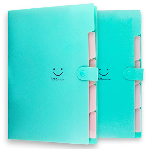 Placstic Expanding File Folders Accordion Document Organizer,5-Pocket,A4 Letter Size,Snap Closure,School and Office Use,2-Pack,Green ()