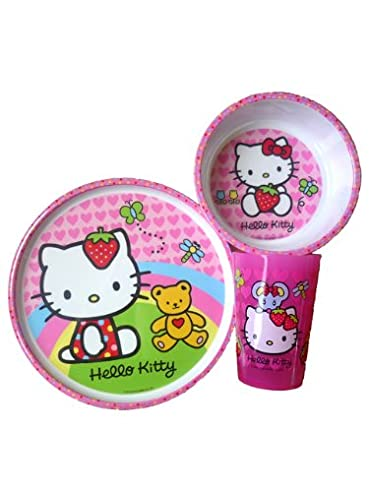 HELLO KITTY - 3er Set - Becher - Teller - Müslischale - super süss - BPA frei - aus USA