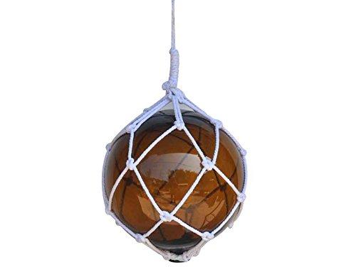 Hampton Nautical Amber Japanese Glass Ball Fishing Float with White Netting Decoration 12
