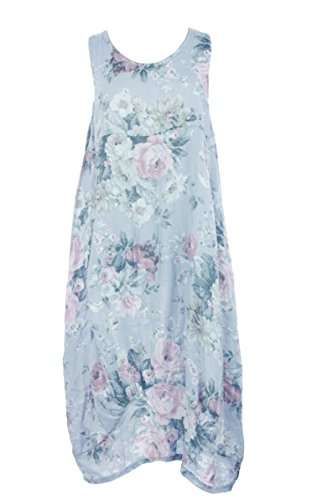 Ladies Womens Italian Lagenlook Floral Print Sleeveless 2 Pocket Linen Tulip Midi Dress One Size (One Size, Light (Tulip Linen)