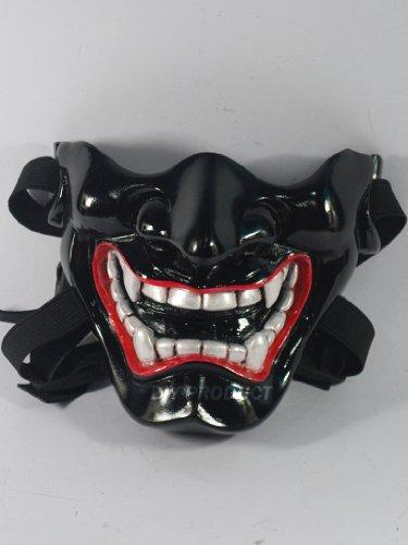 Japanese Hannya Evil Mask (Half Cover) , ฺBlack Kabuki Airsoft Mask and Prop Mask