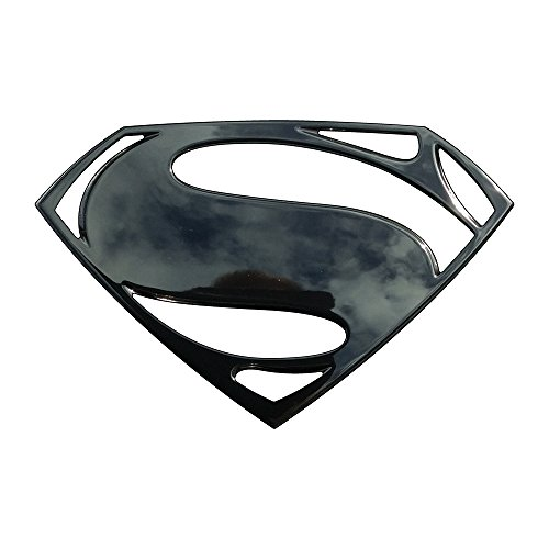 Superman Logo 3D Car Emblem (Black Chrome), Batman v Superman BvS Automotive Sticker Decal Badge Flexes to Fully Adhere to Cars, Trucks, Motorcycles, Laptops, Almost Anything