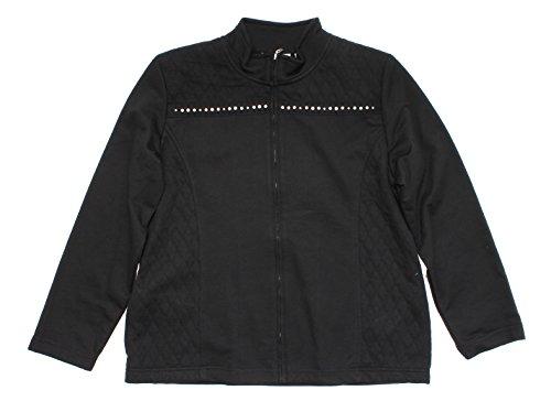 UPC 666805898718, Alfred Dunner Sorrento Zip Up Fleece Spliced Quilt Beaded Jacket Black 10P