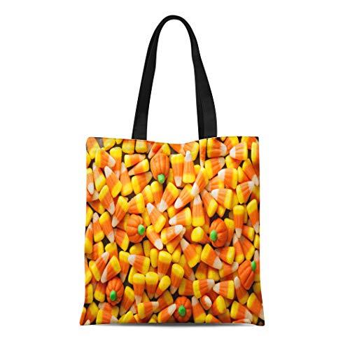 Semtomn Canvas Tote Bag Colorful Candy Corn and Pumpkin Halloween Overhead Shot Orange Durable Reusable Shopping Shoulder Grocery Bag -