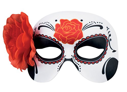 Boland Women Day of the Dead Mask with Flower - Halloween Fancy Dress Accessory