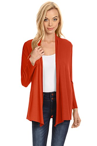 Rust Womens Long Sleeve Open Front Cardigan Sweaters, Rust, Medium