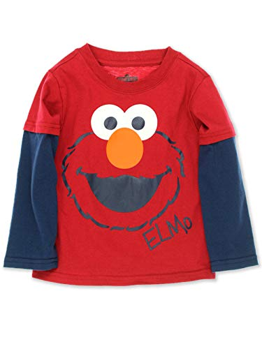 Sesame Street Elmo Toddler Boys Long Sleeve Tee (2T, Elmo Red) -
