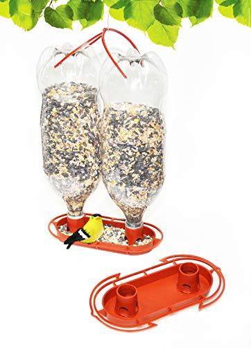 Gadjit Soda Bottle Jumbo Wild Bird Feeder Kits (Terra Cotta) Fill Two 2-Liter Plastic Soda Bottles with Bird Seed, Twist onto Feeder Tray, Hang Outdoors Spring Bird Feeding