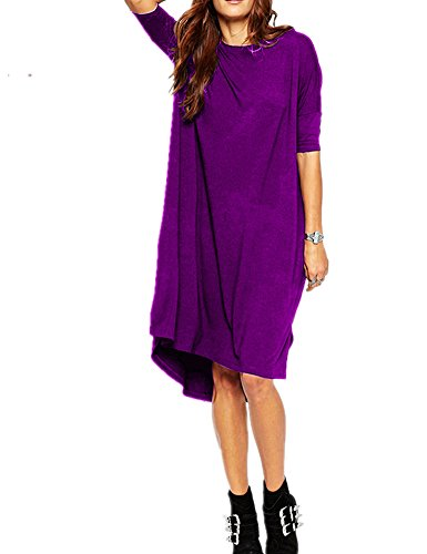 - Haola Women's Loose T Shirt Dress Home Short Shirts Mini Dresses Tops XXL Purple