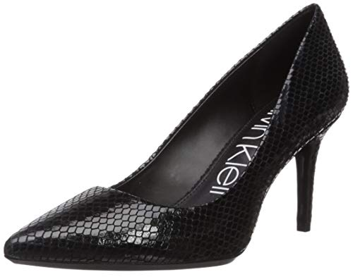 (Calvin Klein Women's Gayle Pump, Black Shiny Snake, 7 M US)