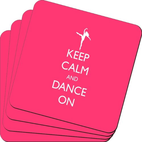 Rikki Knight Keep Calm and Dance on Tropical Pink Color Design Soft Square Beer Coasters (Set of 2), Multicolor