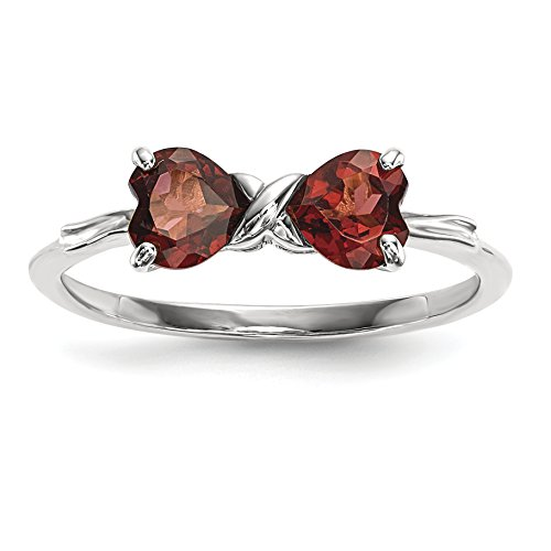 Garnet Bow (ICE CARATS 14k White Gold Red Garnet Bow Band Ring Size 7.00 Birthstone January Set Style Fine Jewelry Gift Set For Women Heart)
