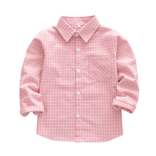 Sleeve Long Flannel Kids (Tortor 1Bacha Little Boys' Long Sleeve Button Down Plaid Flannel Shirt (X-Red, 9-10 Years))