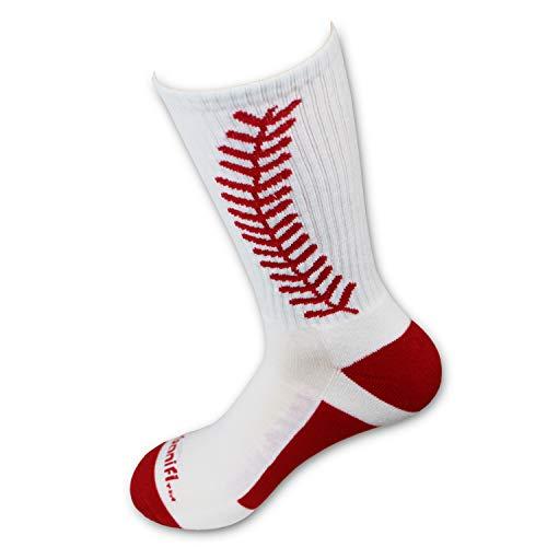 Urbanifi Athletic Sports Mid-Calf Socks Boys Stocking Stuffer Christmas Coach Men Youth Women Girls Players Gift Baseball Softball (White)