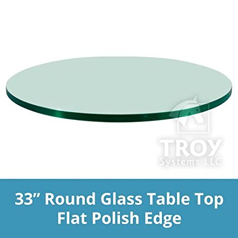 TroySys Glass Table Top, Flat Polish Edge, Tempered Glass, 24 L Round 24 L Round 24RD6MMFPTEM
