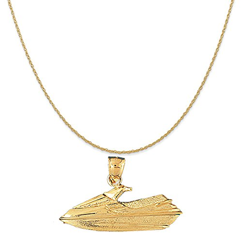 14k Yellow Gold Jet Ski Pendant on a 14K Yellow Gold Carded Rope Chain Necklace, 18'' by Eaton Creek Collection