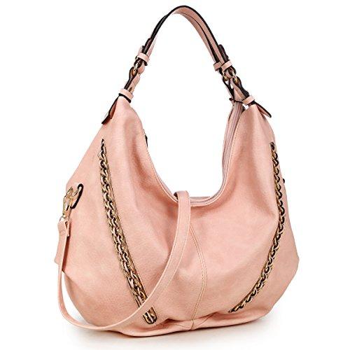 DASEIN Women Casual Hobo Shoulder Bag Soft Washed Vintage Handbags Designer Tote Purses (6332- Pink New) (Soft Handbag)