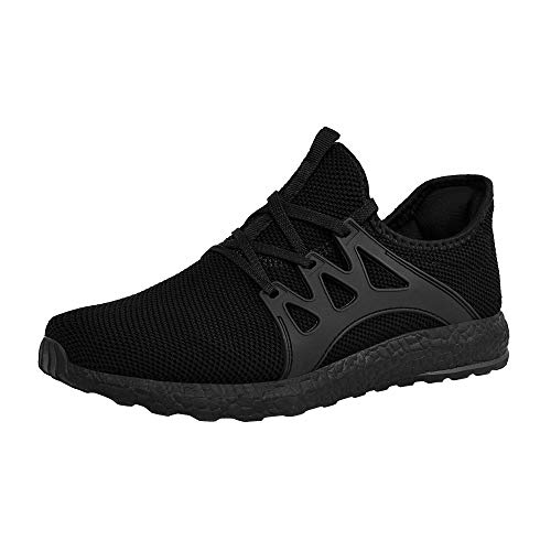 ZOCAVIA Men's Casual Sneakers Ultra Lightweight Breathable Mesh Sport Walking Running Shoes, Black, 12 D(M) US