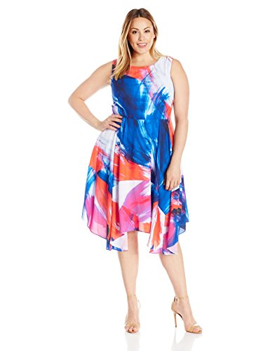 Julia Jordan Women's Plus Size Floral Fit and Flare Midi Dress, Blue/Orange, 24W by Julia Jordan